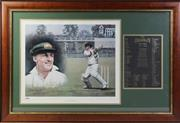 Sale 8994W - Lot 663 - Framed Dave Thomas Legend of Cricket series Sir Donald Bradman 108/150 (98cm x 66cm)