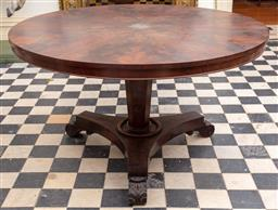 Sale 9190H - Lot 20 - An antique English Regency mahogany centre table C: 1825. The sectioned flame mahogany top on a hexagonal tapering column onto a rin...