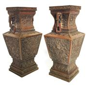 Sale 8292 - Lot 21 - Chien Lung Period Bronze Pair of Vases