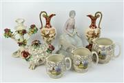 Sale 8417 - Lot 35 - Capodimonte Jewellery Box with Other Ceramics incl. Handpainted Pair of Ewers
