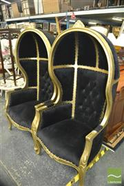 Sale 8431 - Lot 1028 - Pair of Porters Chairs w Black Buttoned Back Upholstery