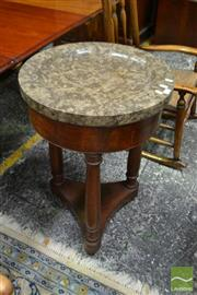 Sale 8500 - Lot 1016 - Early 19th Century Probably French Side Table with Thick Grey Marble Top on Turned Supports and Triform Base