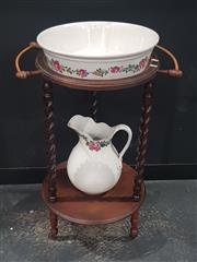 Sale 8760 - Lot 1001 - Barley Twist Wash Stand with Ceramic Bowl and Jug