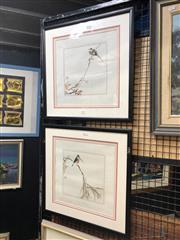 Sale 8784 - Lot 2047 - 2 Works: Chinese School - Bird Scenes,  47 x 47cm (frame)