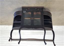 Sale 9157 - Lot 1010 - Antique parlour cabinet missing top (h105 x 121 x d30cm) foot broken