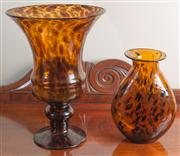 Sale 8470H - Lot 83 - Two tortoiseshell effect glass vases in baluster and moon flask forms, taller H 35cm