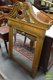 Sale 8500 - Lot 1043 - George II Style Gilt Mantle Mirror, the broken pediment with festoons, fluted frieze & half columns