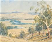 Sale 8510 - Lot 596 - Dora Toovey (1898 - 1986) - Golden Light Goulbourn Valley Vic, 1968 22.5 x 28cm