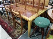 Sale 8532 - Lot 1095 - American Oak Dining Table with Parquetry Top