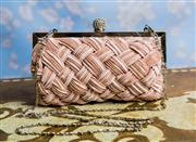 Sale 8577 - Lot 19 - A champagne Strand Bags clutch featuring beautiful pleated weave front detail, diamante crystal ball clasp, silver tone frame and ch...