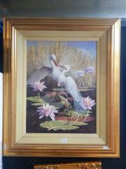 Sale 8650 - Lot 2015 - Falk Kautzner - 14 Egrets and Waterlillies