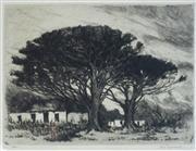 Sale 8738A - Lot 5083 - Nita Spilhaus (1878 - 1967) - Farm Cottages & Trees, Cape Town, South Africa (c1920) 24 x 17cm