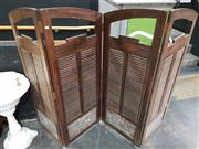 Sale 8745 - Lot 1001 - Rosewood and Marble 4 Panel Dressing Screen