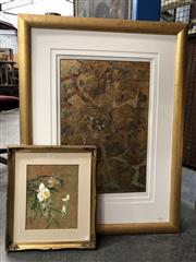 Sale 8807 - Lot 2059 - Two Original Artworks, gold leaf abstract 55 x 35cm together with an oriental watercolour on cork