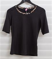 Sale 8902H - Lot 139 - A Basler black elbow length t-shirt with leopard trim to neck, small S