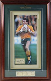 Sale 8994W - Lot 673 - Signed and framed David Campese sporting memorabilia (85cm x 53cm)