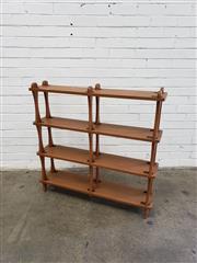 Sale 9080 - Lot 1028 - Vintage timber open shelving (h:94 x w:100 x d:22cm)