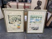 Sale 9091 - Lot 2048 - Michael Eisemann ( 2 works) Bouquet de Champagne & Le Bassin dAregnteuil colour lithographs 1984, 81 x 61 cm (frames), each signe...