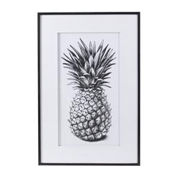 Sale 9140F - Lot 70 - Large black & white pineapple wall art in a polystyrene frame. Dimensions: W82 x D3 x H124 cm