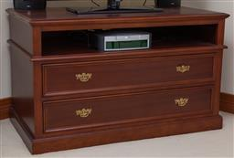 Sale 9155H - Lot 34 - A custom made two drawer entertainment unit, with cord hole to back and brass handles. Height 72cm x Width 120cm x Depth 64.5cm