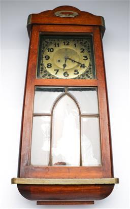 Sale 9156 - Lot 52 - A German leadlight door wall clock (78cm x 33cm x 16cm)