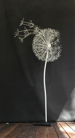 Sale 9175G - Lot 12 - Metal Dandelion Sculpture .Hand made from metal. General Wear . Slight Scratches on Pole .Size 150cm H x 65cm Widest  X 50cm D at Ball