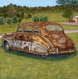 Sale 9252A - Lot 5092 - STANLEY PERL (1942 - ) Rusty Vintage Car acrylic on canvas 61 x 61 cm signed and titled verso