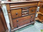 Sale 8559 - Lot 1010 - Late 19th Century Cedar Chest of Seven Drawers, flanked by bobbin half-columns & on turned feet
