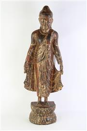 Sale 8802 - Lot 180 - Burmese Standing Buddha with Traces of Gilding in Mandalay Style H: 71 cm