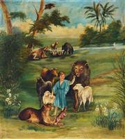 Sale 9001 - Lot 578 - W. Hopkins - Pastoral Scene, 1918 78 x 70 cm (frame: 96 x 89x 4 cm)
