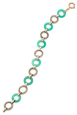 Sale 9115 - Lot 369 - A VINTAGE 14CT GOLD STONE SET BRACELET; 13mm wide alternating ring links of chrysoprase and pierced gold united by floral motif band...