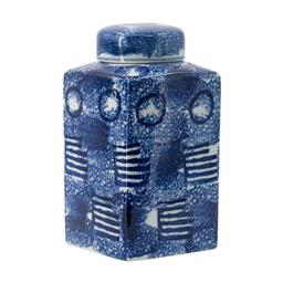 Sale 9140F - Lot 71 - An abstract patterned square porcelain jar with a round lid complete with a blue and white finish. Dimensions: W13.5 x D13.5 x H26 cm