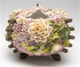 Sale 9211 - Lot 26 - An Elaborate Ceramic Floral Centre Bowl (H:15.5cm Dia:23cm)