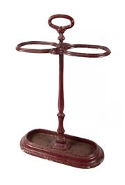 Sale 8422A - Lot 52 - An antique French red painted cast iron umbrella/stick stand, height 63cm