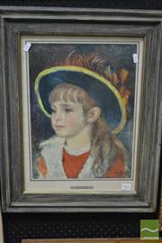 Sale 8497 - Lot 2042 - Renoir print - Giovnetta con cappello blu, 1981 frame size: 60 x 48cm