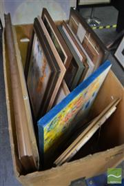 Sale 8537 - Lot 2032 - Collection of Paintings and Prints by Various Artists, various sizes (box not included)