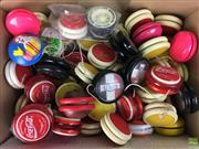 Sale 8559A - Lot 79 - Box of Vintage YoYos including Coke, Fanta, Pluto and Barbie.