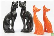 Sale 8626 - Lot 87 - Pair Of Ceramic Black Cats (H:28cm) And Orange Ceramic Cats AF (H:24cm)