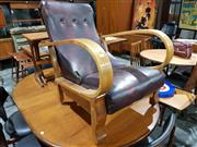 Sale 8765 - Lot 1081 - Art Deco Lounge Chair with Hoop Arms and Adjustable Back