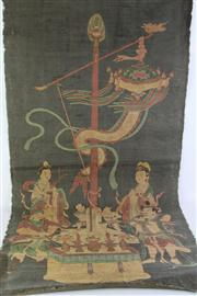 Sale 8818 - Lot 221 - A Thanka Featuring Characters (L 120cm W 60cm)