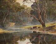 Sale 8929 - Lot 519 - Kevin Best (1932 - 2012) - Bull and Calf by the River 39.5 x 49.5 cm