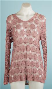 Sale 9071F - Lot 36 - A HANDMADE LONG SLEEVE CROCHET TOP; in dusty pink , UK10