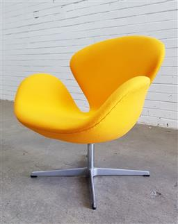 Sale 9117 - Lot 1086 - Fritz Hansen swan chair in yellow upholstery (h:77 x w:75 x d:48cm)