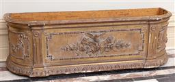 Sale 9190H - Lot 12 - An antique French Louis XVI carved giltwood planter box. Height 38cm x Width 125cm x Depth 35cm