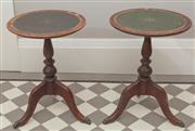Sale 8470H - Lot 78 - Two Regency style tripod occasional tables with leather tops and paw feet, H 50cm, in need of attention
