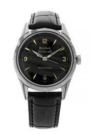 Sale 8522A - Lot 36 - A fine vintage Bulova 23 jewel self winding automatic wristwatch, black dial in polished stainless steel case, 33mm, in working order.