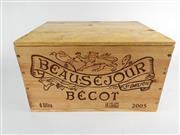 Sale 8531 - Lot 1710 - 6x 2005 Chateau Beau-Sejour Becot, 1er Grand Cru Classe (B), St-Emilion - original timber box, 92/100 RPJ