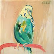 Sale 8675 - Lot 513 - Mia Oatley (1977 - ) - Green and Gold Budgie 61 x 61cm