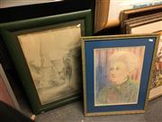 Sale 8659 - Lot 2074A - 2 Frederick Winter Works: Church, pencil sketch; Portrait, pastel