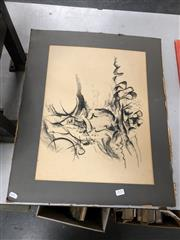 Sale 8789 - Lot 2152 - Artist Unknown - Man Riding Bicycle, charcoal, signed at base